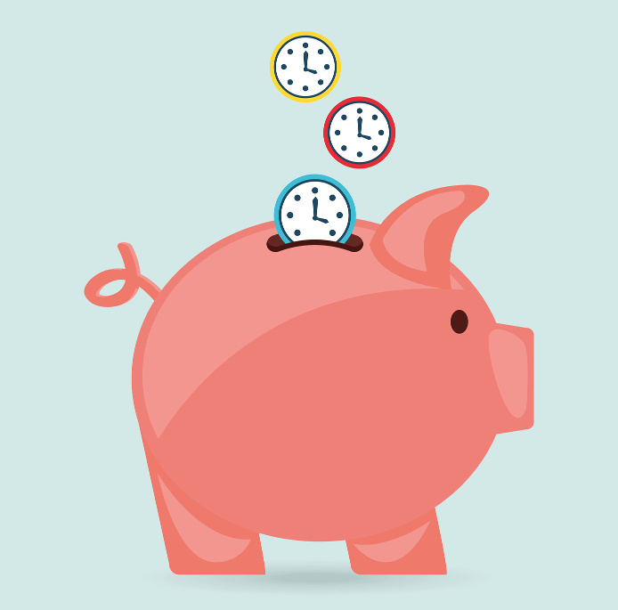 A piggy bank being filled with clocks representing the synergy between billing and scheduling software